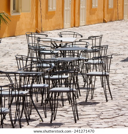iron bar chairs in Balatonfured - stock photo