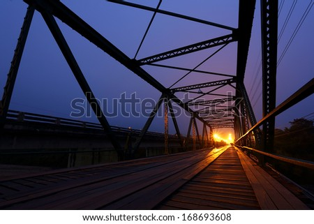 Iron bridge history in sunrise at Pai, Mae Hong Son, Thailand
