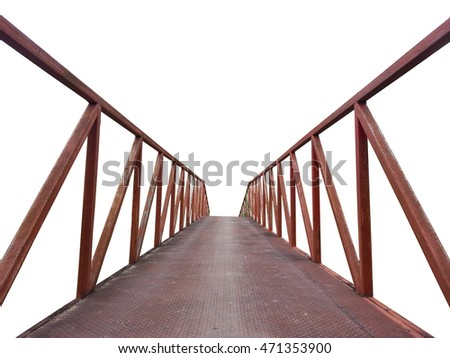Iron bridge in countryside isolated with white background.