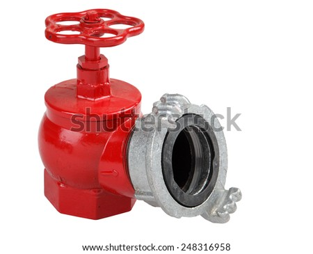 Iron casting fire hydrant valve, red with fire hose coupling connection, Isolated on white background, saved path contour selection. - stock photo