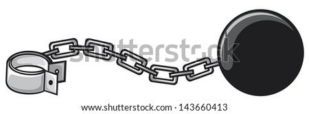 iron chain with shackle (criminal design)