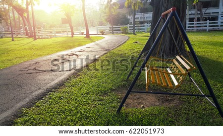 Iron Classic Outdoor Hanging Patio Porch Swing Bench In The Garden. Swing  In The Park