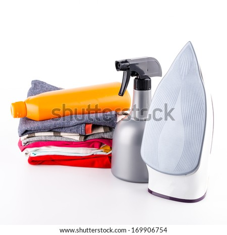 iron clothes isolated white background