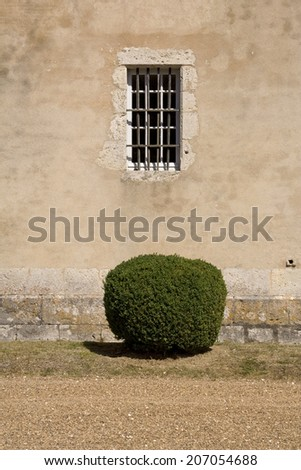 Iron crossed window in a French castle with a circular bush in the foreground