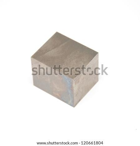iron cubes isolated on white background - stock photo