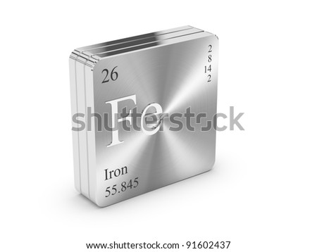 iron element of the periodic table on metal steel block - Periodic Table Steel Symbol