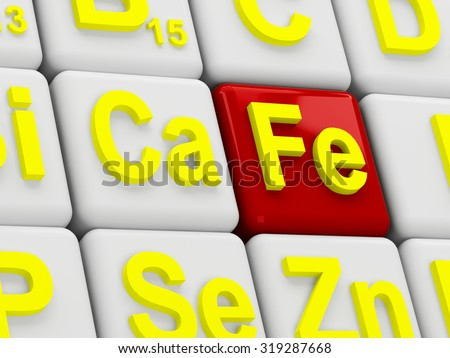 Iron element symbol isolated on white background - stock photo