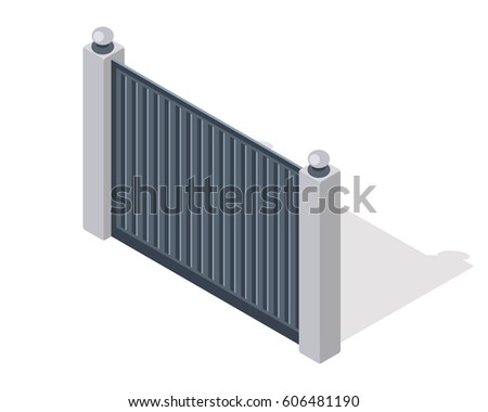 Iron fence with brick columns isolated on white. Gate with wicket in flat style design. Isometric projection. Metal gates, wrought iron, lattice for yard.  illustration