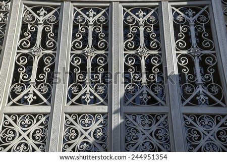 Iron gate, National Library of Madrid, Spain. architecture and art - stock photo