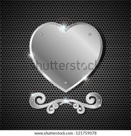 Iron heart on a dark background, illustration. - stock photo
