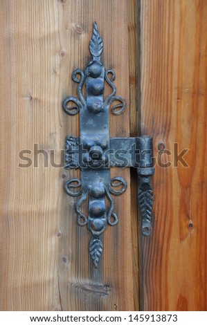 Iron hinge on the door