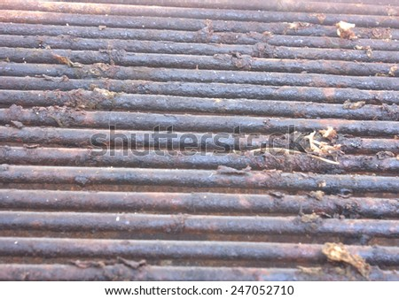 Iron in meat is grilled Kang Ta iron in meat naturally beautiful with smoke. Rust, but it must be cleaned before the meat in the meat grill, but also big and strong steel. - stock photo