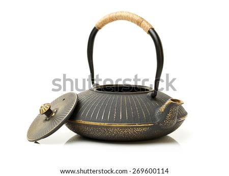 iron japanese teapot isolated on white background  - stock photo