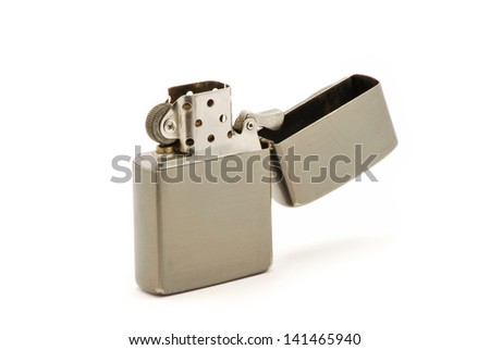 Iron lighter with petrol isolated on white background - stock photo