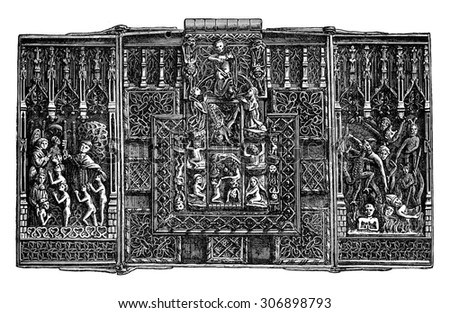 Iron lock of the fifteenth century, vintage engraved illustration. Industrial encyclopedia E.-O. Lami - 1875.