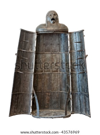 Iron Maiden, medieval torture device isolated on white background