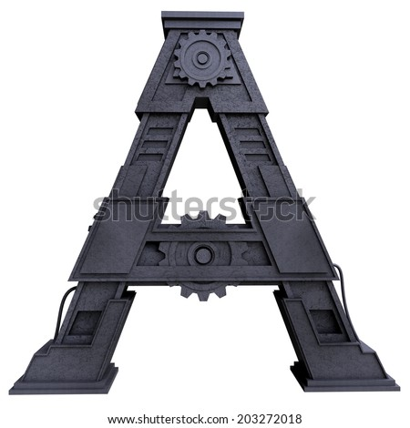 Iron mechanical black letters scratched metal on a white background. Letter a - stock photo