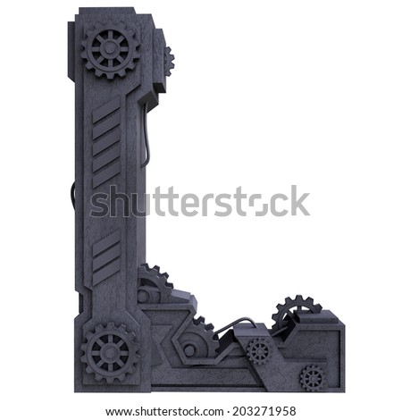 Iron mechanical black letters scratched metal on a white background. Letter l - stock photo