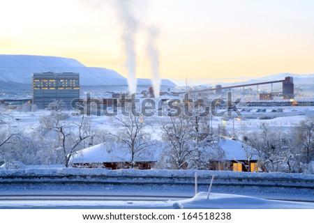 Iron ore Refinery Factory Plant in winter Kiruna Sweden - stock photo