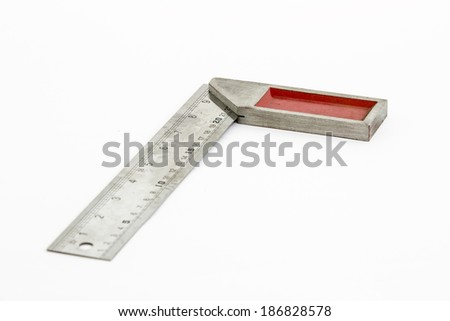 Iron ruler with angle bar, set square, isolated on a white background - stock photo