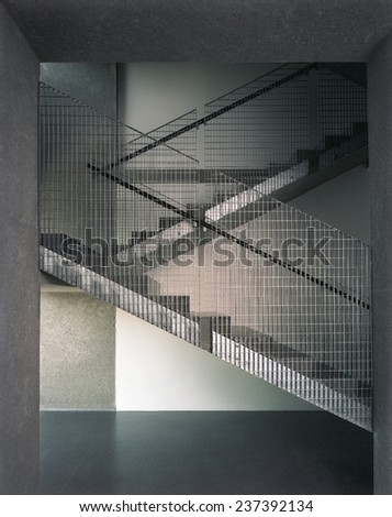 iron stairs architectonic detail made from concreate and zinc metal - stock photo