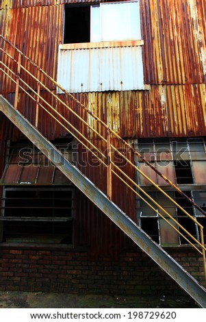 iron stairs of old abandoned factory