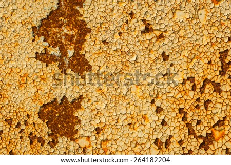iron surface is covered with old paint - stock photo