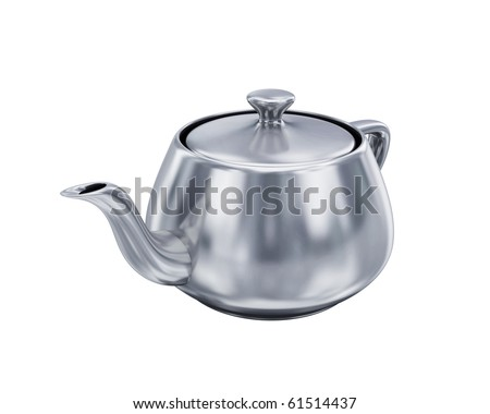 Iron teapot on white background