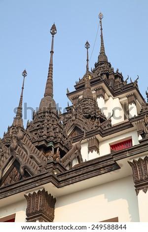 Iron temple Loha Prasat in Wat Ratchanatdaram Worawihan, Bangkok, Thailand - stock photo