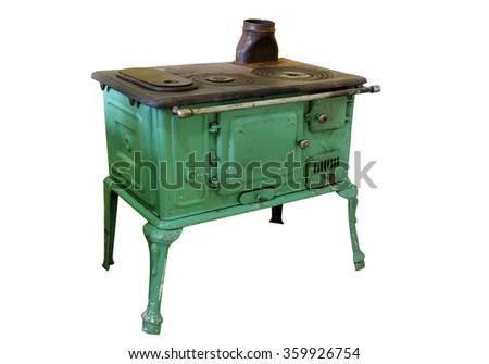 iron wood stove - stock photo