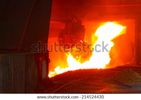 iron works blast furnace flame, closeup of photo - stock photo