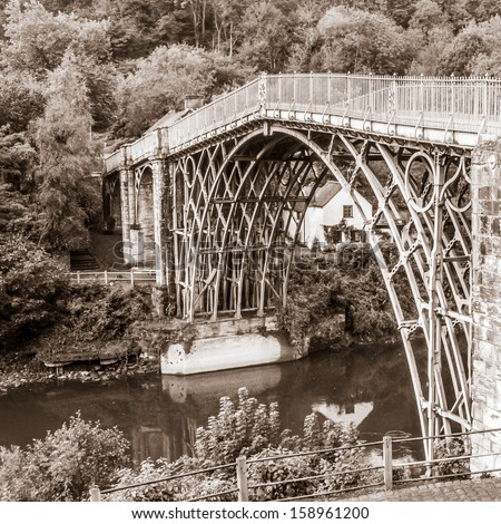 Ironbridge, river Severn, Shropshire, black and white square image - stock photo