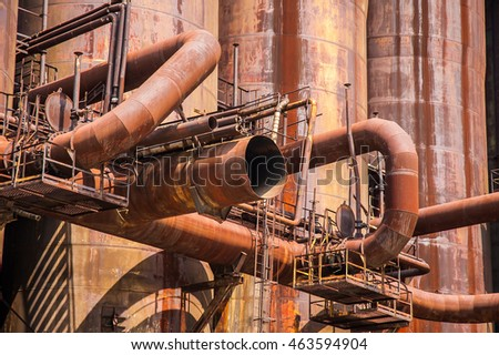 Ironworks - detail of a blast furnace.