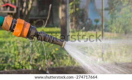 irrigate the garden with water to obtain plants lush, green - stock photo