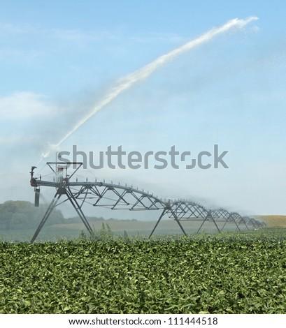 Irrigation equipment watering a green soybean crop - stock photo