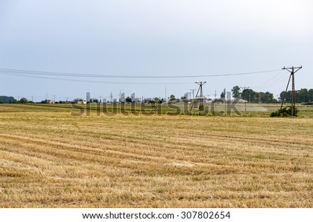 irrigation field during a drought - stock photo