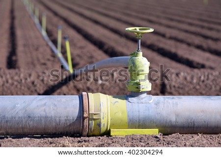 Irrigation pipe and sprinklers in a newly planted field. - stock photo