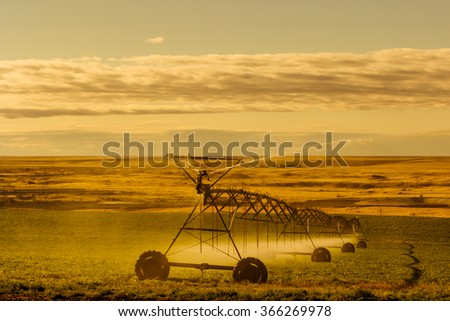 Irrigation sprinkler watering crops on fertile farm land, usa. - stock photo