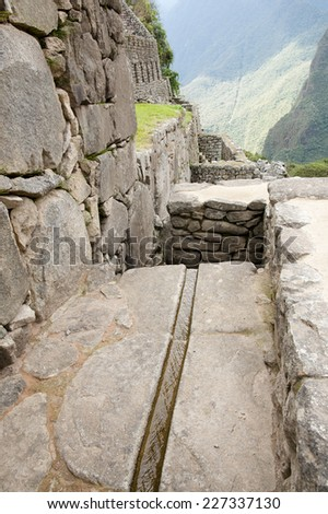 Irrigation System - Machu Picchu - Peru  - stock photo