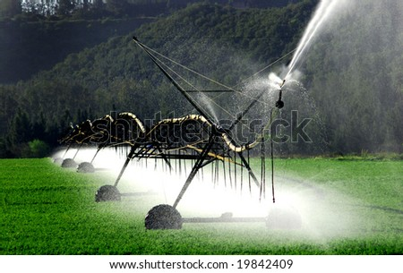 irrigation system working on a farm