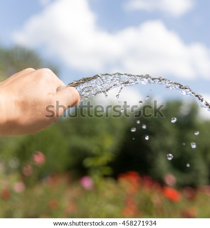 Irrigation water from the hose outdoors