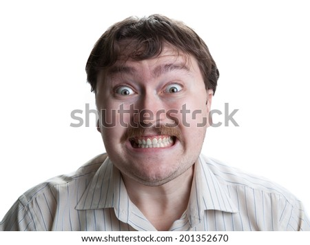 irritation at the man's face on a white background - stock photo