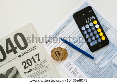 Irs 1040 Tax Form Instructions Used Stock Photo 1043568073