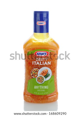 IRVINE, CA - JANUARY 11, 2013: A 16 oz. bottle of Kraft Zesty Italian Anything Dressing. Kraft Foods has 27 brands with sales in excess of $100 million annually. - stock photo