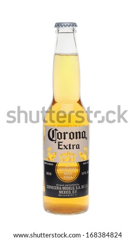 IRVINE, CA - January 11, 2013: Photo of a 12 ounce bottle of Corona Extra Beer. Corona, produced by Grupo Modelo with Anheuser Busch InBev, is the most popular imported beer in the US. - stock photo