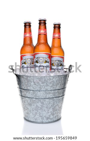 IRVINE, CA - MAY 27, 2014: Budweiser bottles in a bucket of ice. From Anheuser-Busch InBev, Budweiser is one of the top selling domestic beers in the United States.