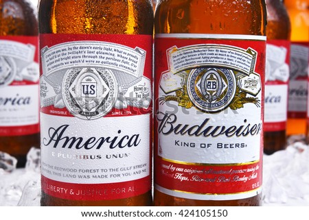 IRVINE, CA - MAY 21, 2016: Two Budweiser Beer Bottles closeup. A limited edition America bottle and a traditional label from Anheuser-Busch.