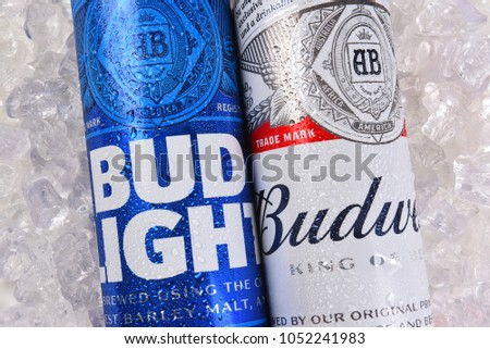 IRVINE, CALIFORNIA   MARCH 21, 2018: Budweiser And Bud Light King Cans On