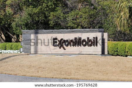 IRVING, TX � MARCH 14: An entrance to the ExxonMobil world headquarters located in Irving, Texas on March 14, 2014. ExxonMobil is the world's largest publicly traded international oil and gas company. - stock photo