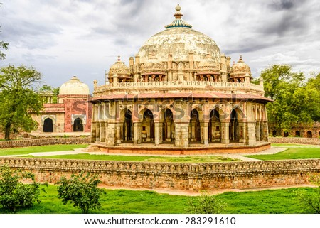 Isa Khan Niyazi tomb, Humayan complex,New Delhi - stock photo